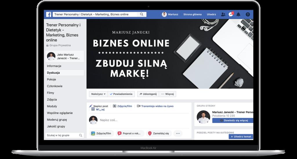 Biznes trenera i dietetyka online - gruba na Facebook